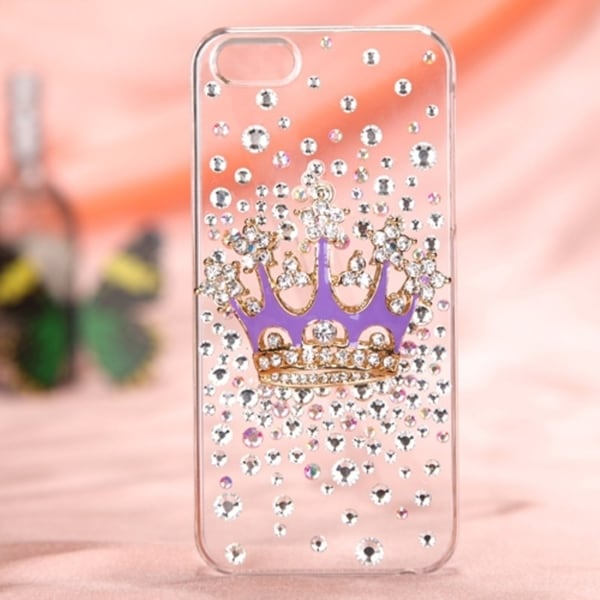 BasAcc Purple Crown Crystal 3D Diamante Back Case For Apple® iPhone 5