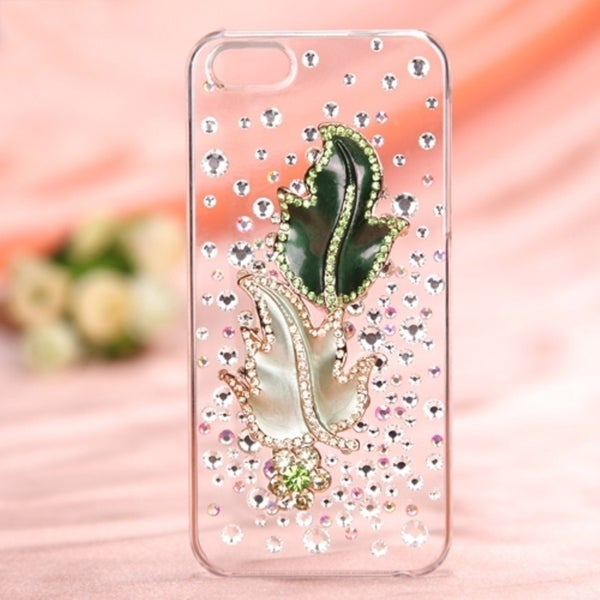INSTEN Maple Leaf Crystal 3D Diamante Back Phone Case Cover for Apple iPhone 5