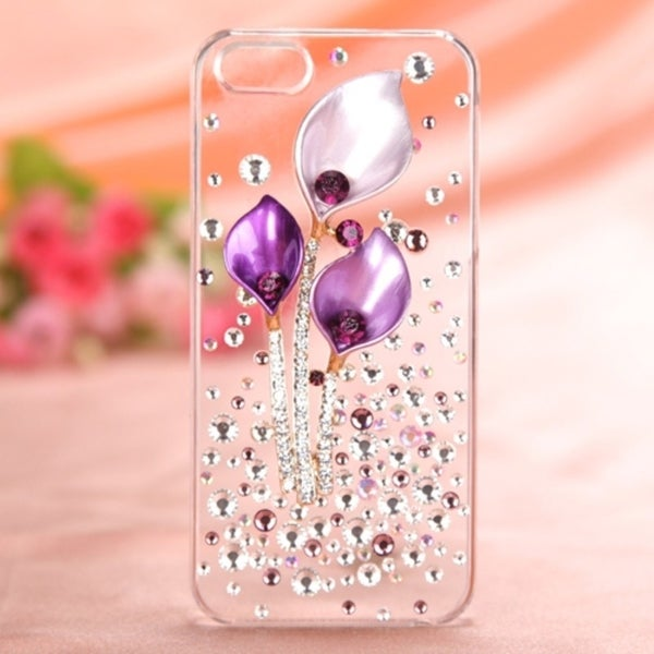 INSTEN Purple Calla Lilies 3D Diamante Phone Case Cover for Apple iPhone 5