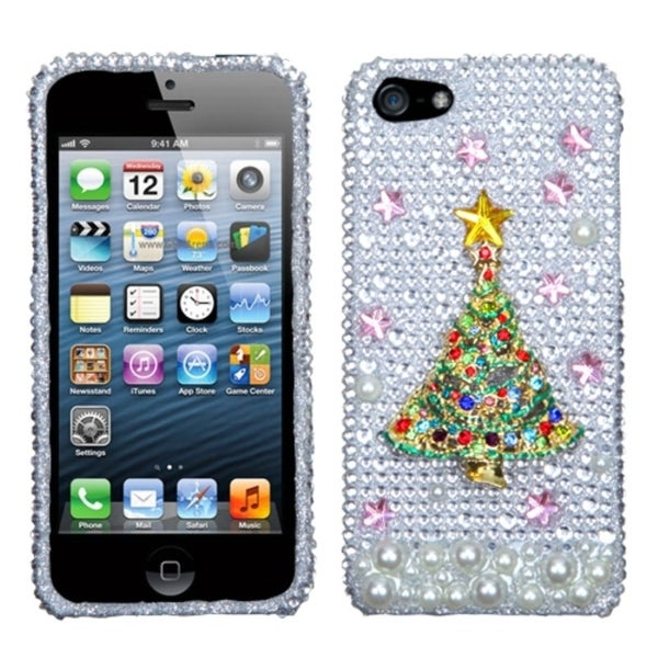 INSTEN Christmas Tree 3D Diamante Phone Case Cover for Apple iPhone 5