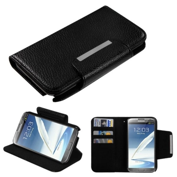 INSTEN Black Book-Style MyJacket/ Card Slot for Samsung Galaxy Note 2