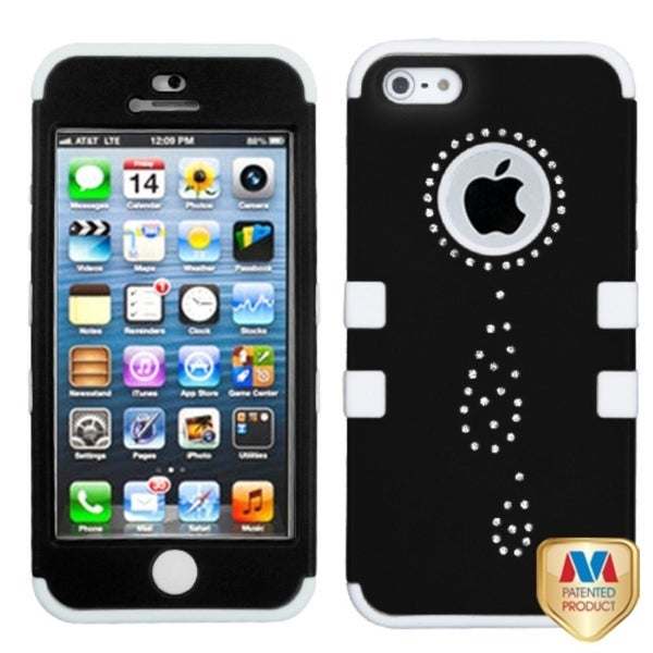INSTEN Water Drop Black/ White Tuff Hybrid Phone Case Cover for Apple iPhone 5