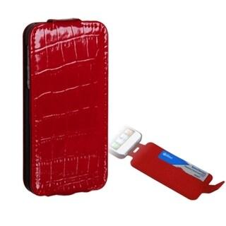 INSTEN Red Crocodile Skin Wallet/ Slot for Apple iPhone 5