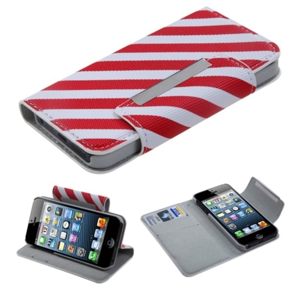 BasAcc Red/ White Stripe MyJacket Wallet For Apple® iPhone 5