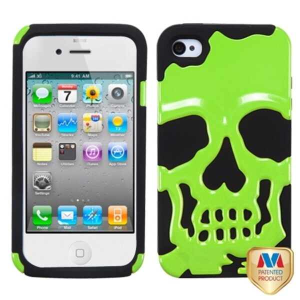 INSTEN Pearl Green/ Black Skullcap Hybrid Phone Case Cover for Apple iPhone 4S/ 4