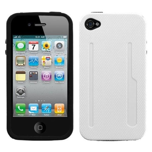 INSTEN Solid Ivory/ Black Fusion Phone Case Cover for Apple iPhone 4S/ 4