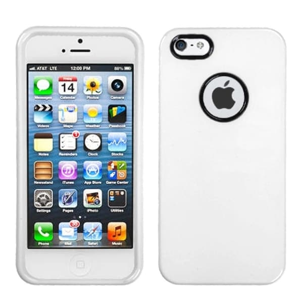 INSTEN Solid Ivory Decorative Rings Phone Case Cover for Apple iPhone 5