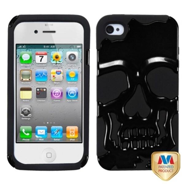 INSTEN Solid Black Skullcap Hybrid Phone Case Cover for Apple iPhone 4S/ 4