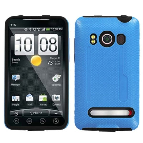 INSTEN Baby Blue/ Black Fusion Phone Case Cover for HTC EVO 4G