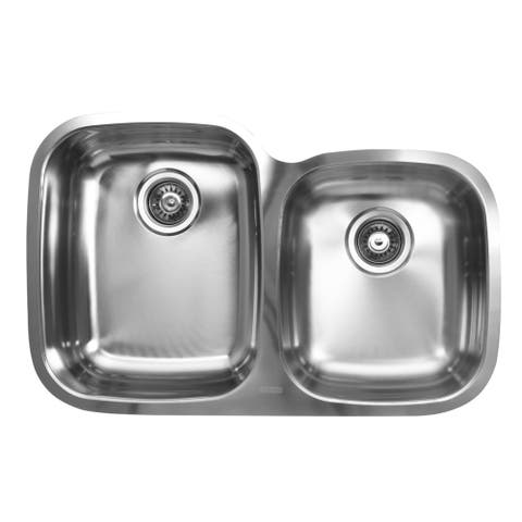 Ukinox Double Basin Stainless Steel Undermount Kitchen Sink - 60/40 Left bowl: D-shape ; Right bowl: Square