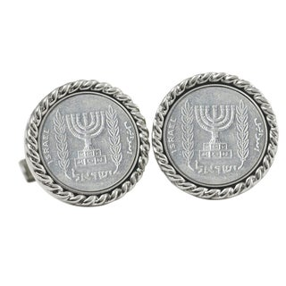 Israel 'Menorah Coin' Cuff Links
