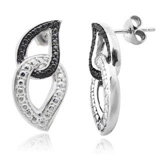 De Buman Sterling Silver Black Diamond Earrings