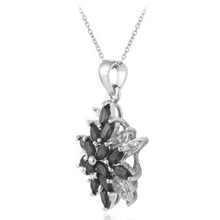 Glitzy Rocks Plated Gemstone and Diamond Accent Starburst Necklace (5 options available)