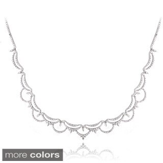DB Designs Silvertone Diamond Accent Scalloped Necklace (2 options available)