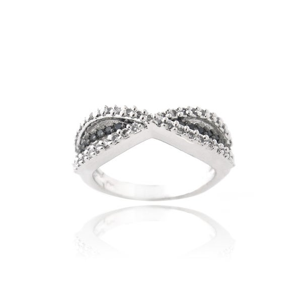 Icz Stonez Silvertone Black and White Cubic Zirconia Infinity Ring