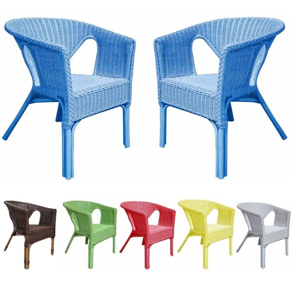 Rattan Living Outdoor Colorful Rattan Chairs (Set of 2 ...