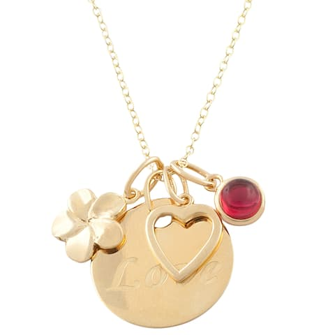 Fremada 14k Gold over Silver Flower, Heart, Love, Red Glass Necklace