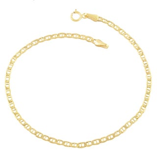 Fremada 10k Yellow Gold Mariner Link 10-inch Anklet