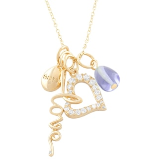 Fremada 14k Gold over Silver CZ Heart, Forever, Love, Lavander Necklace