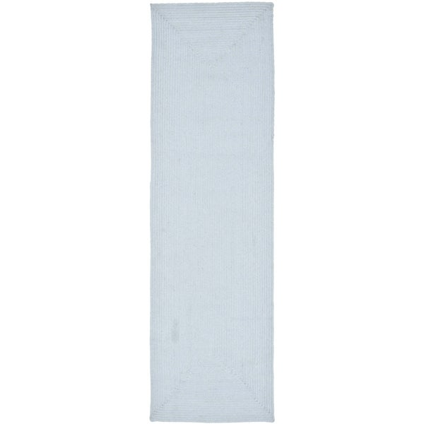 Safavieh Reversible Braided Light Blue Cotton Rug (2'3 x 14')