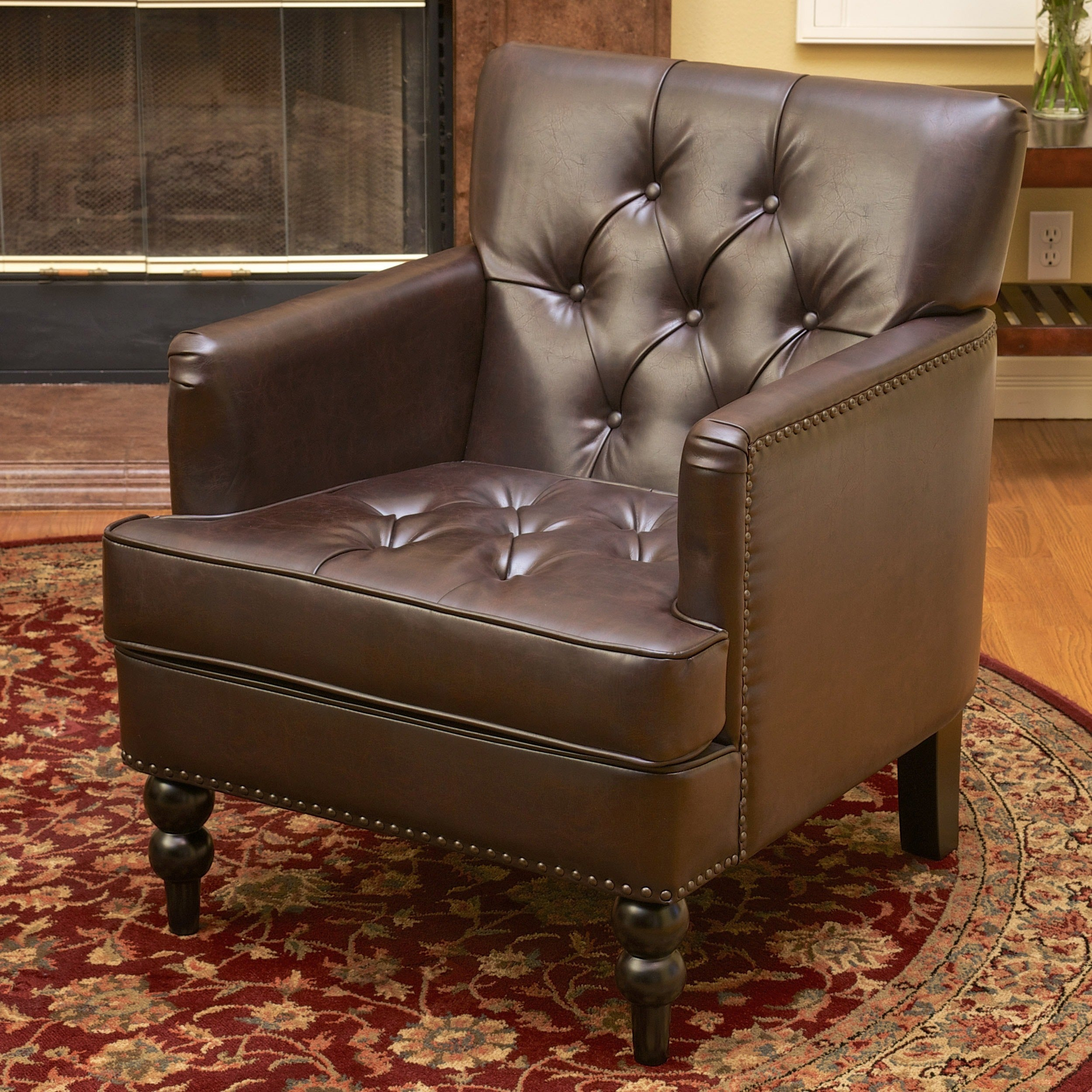 malone brown leather club chair by christopher knight home | ebay