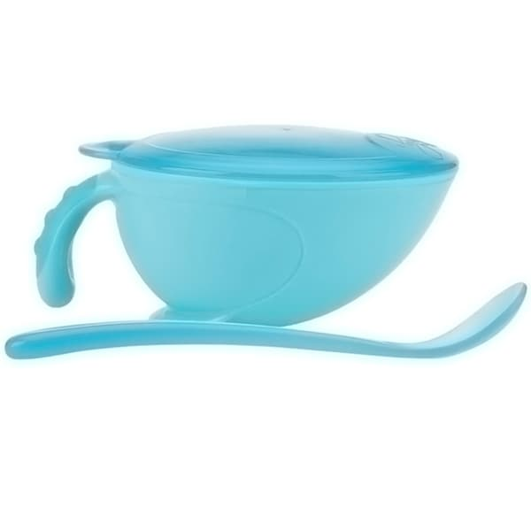 Nuby Non-skid Comfort Grip Feeding Bowl with Lid Handle and Spoon