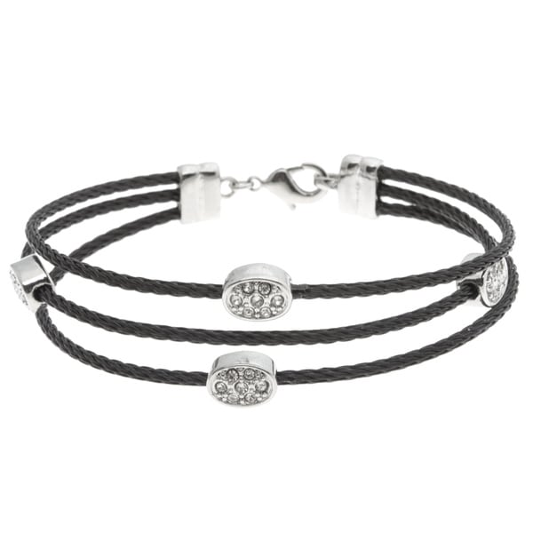 Crystale Stainless Steel Clear Crystal Station 3-strand Cable Bracelet