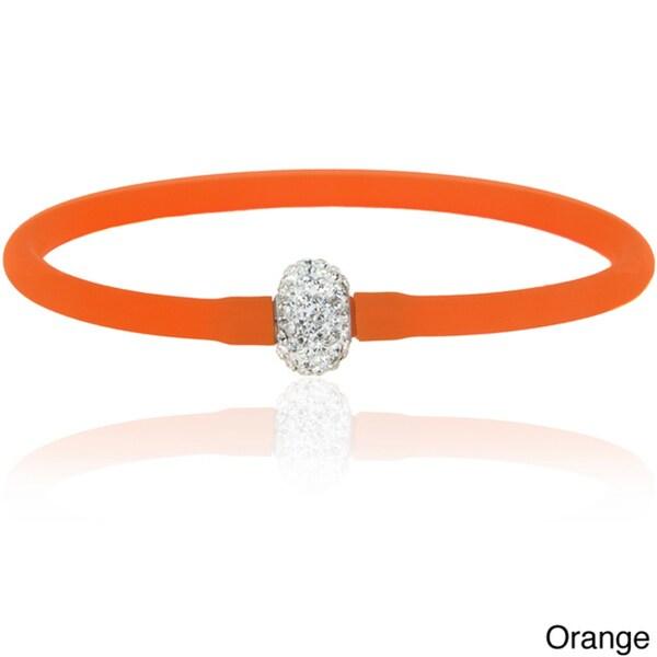 Dolce Giavonna Crystal Ball Silicone Stretch Bracelet