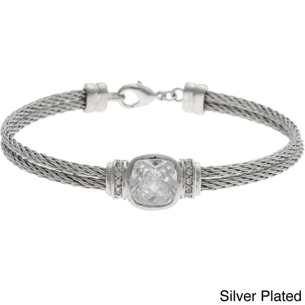 Crystale Stainless Steel Cushion-cut Crystal Cable Bracelet