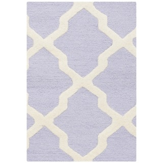 Safavieh Hand-made Cambridge Lavender/ Ivory Contemporary Wool Rug (2'6 x 4')