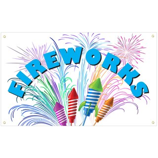 White Fireworks Vinyl Advertising Sign
