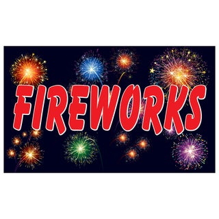 Black Fireworks Vinyl Advertising Sign