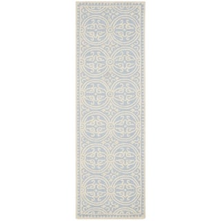 Safavieh Handmade Cambridge Moroccan Light Blue/ Ivory Rug (2'6 x 16')