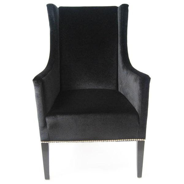 Wing Back Black Velvet Armchair