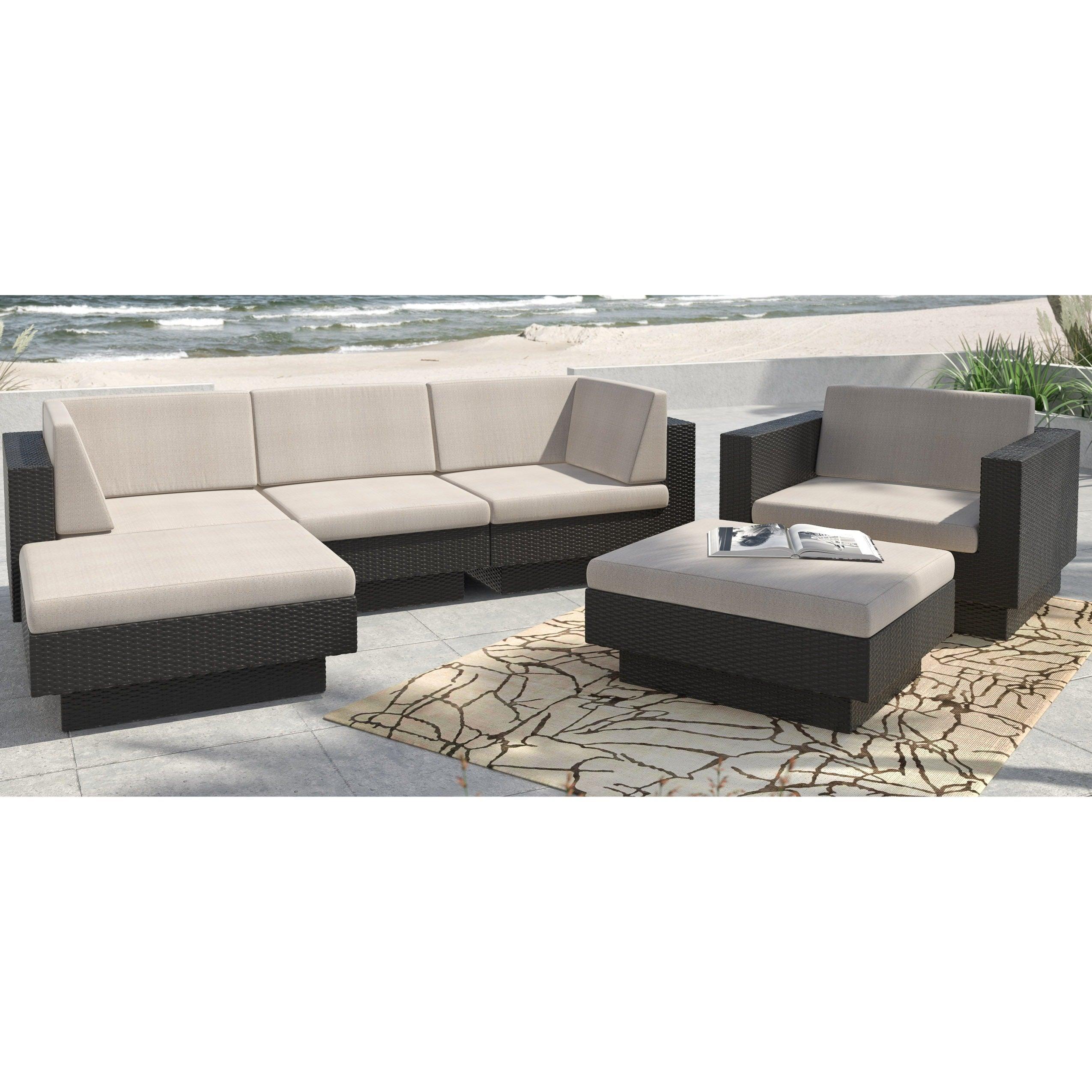 Sonax 'Park Terrace' Textured Black 6-piece Sectional Patio Set