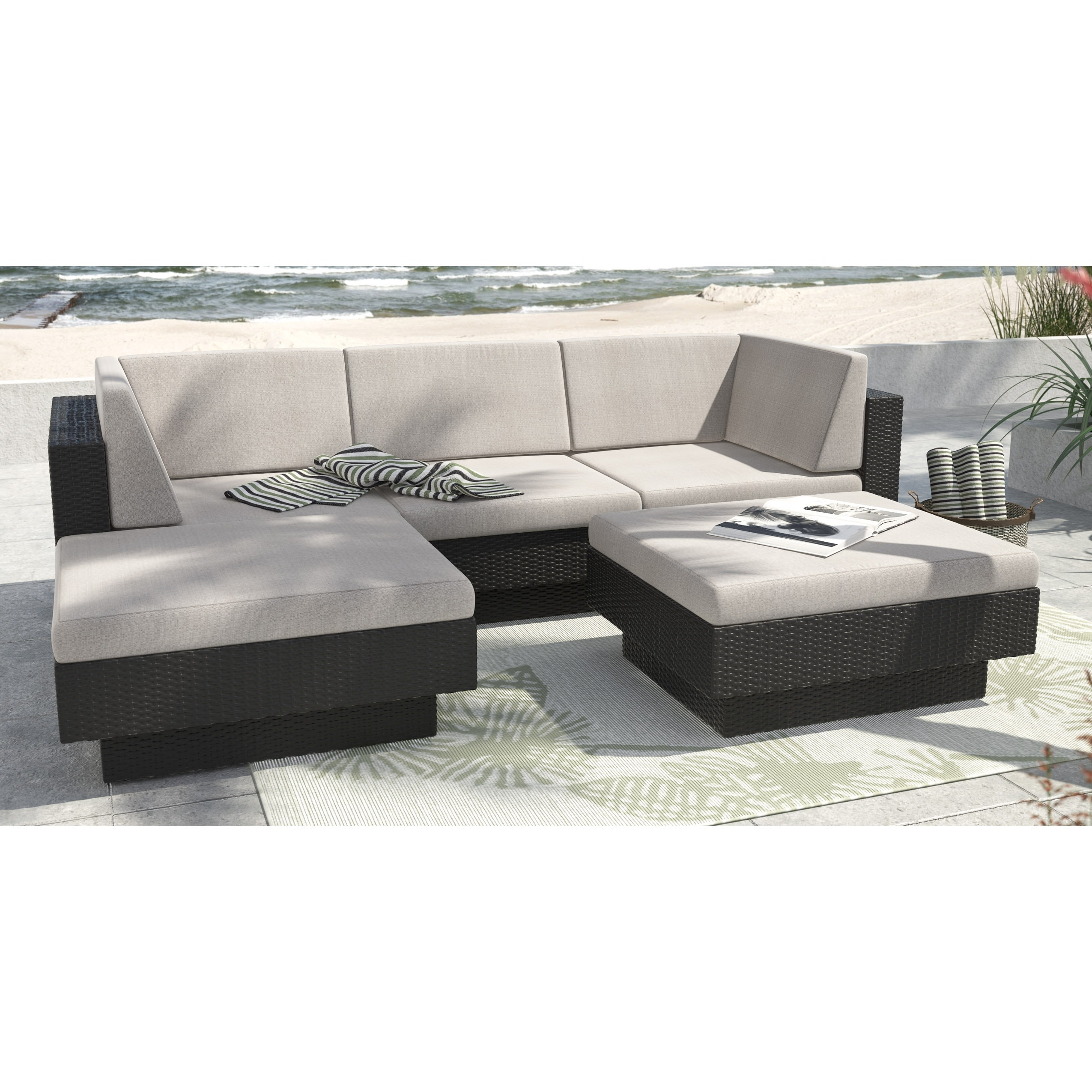 SONAX Park Terrace' Textured Black 5-piece Sectional Pati...