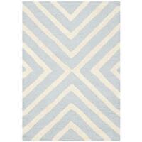 Safavieh Handmade Moroccan Cambridge Light Blue/ Ivory Wool Rug (2' 6 x 4') - 2'6 x 4'