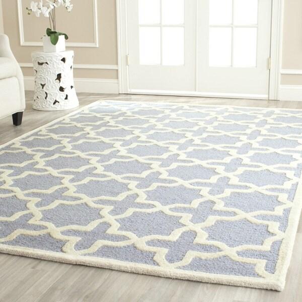 Safavieh Handmade Moroccan Cambridge Geometric-pattern Light Blue/ Ivory Wool Rug - 10' x 14'