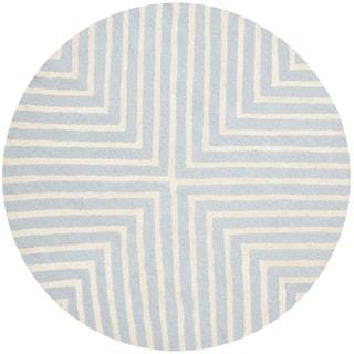 Safavieh Handmade Moroccan Cambridge Light Blue/ Ivory Wool Rug (4' x 4' Round)