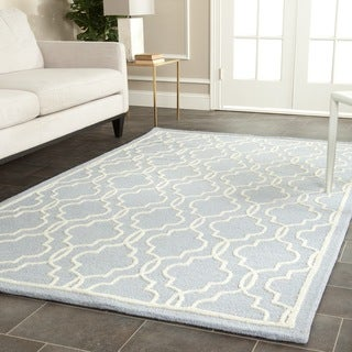 Safavieh Contemporary Handmade Moroccan Cambridge Light Blue/ Ivory Wool Rug (11' x 15')