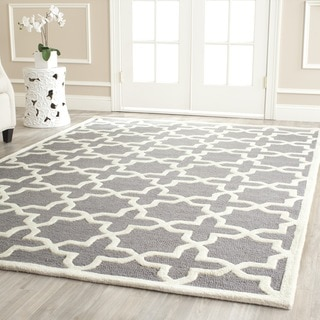 Safavieh Handmade Moroccan Cambridge Light Silver/ Ivory Wool Rug (11' x 15')
