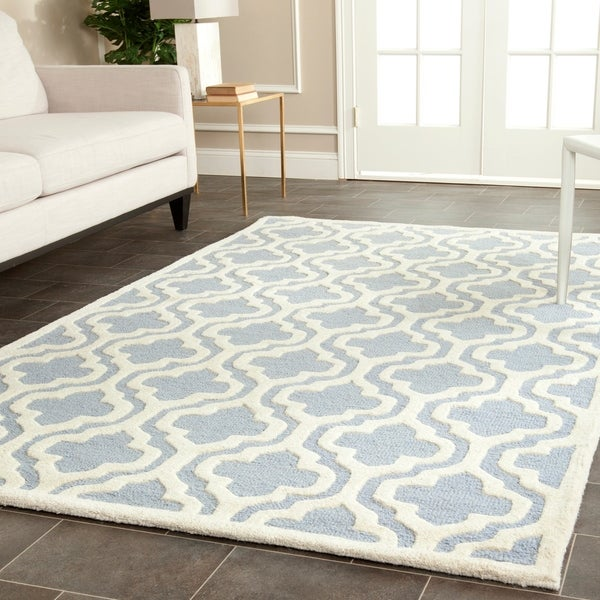 Safavieh Handmade Moroccan Cambridge Light Blue/ Ivory Wool Area Rug - 10' x 14'