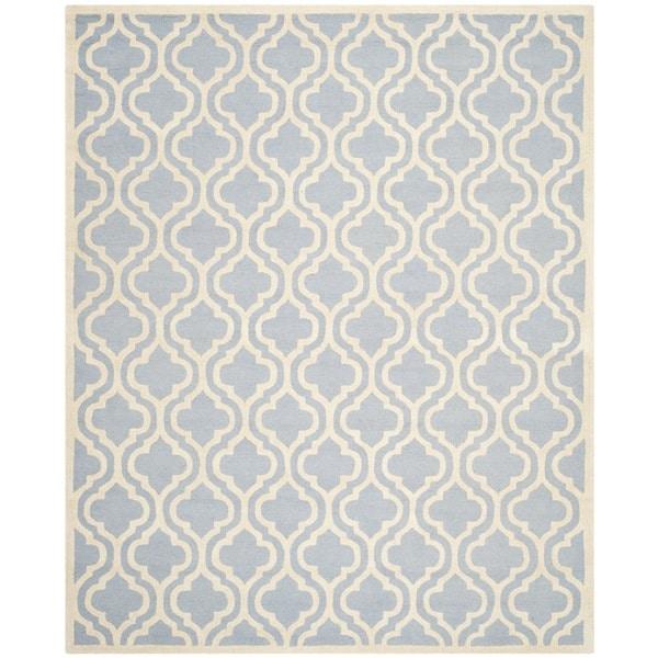 Safavieh Handmade Moroccan Cambridge Light Blue/ Ivory Wool Area Rug - 10' x 14'