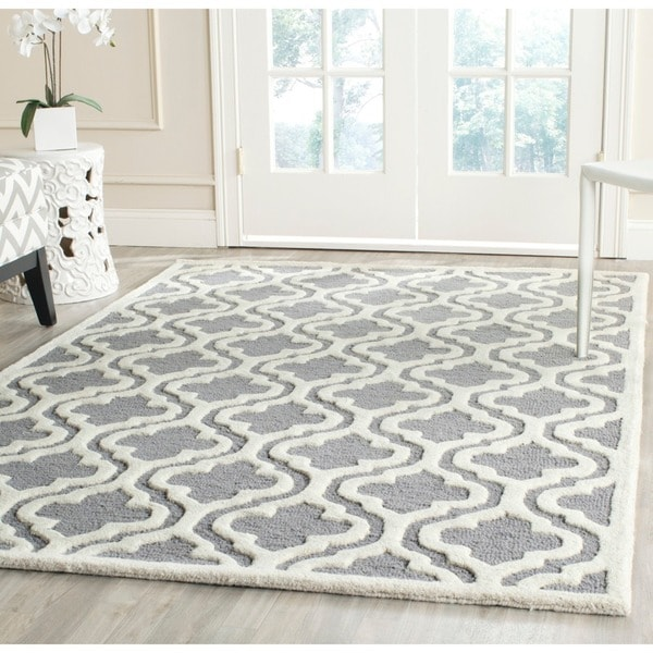 Safavieh Handmade Moroccan Cambridge Oversized Silver Ivory Wool Rug 11 X27