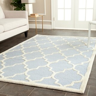 Safavieh Handmade Moroccan Cambridge Trellis-pattern Light Blue/ Ivory Wool Rug (10' x 14')
