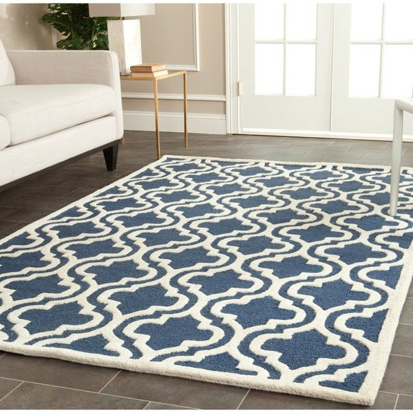 safavieh cambridge navy ivory handmade moroccan wool area rug 11 39 x 15 39 free shipping today. Black Bedroom Furniture Sets. Home Design Ideas