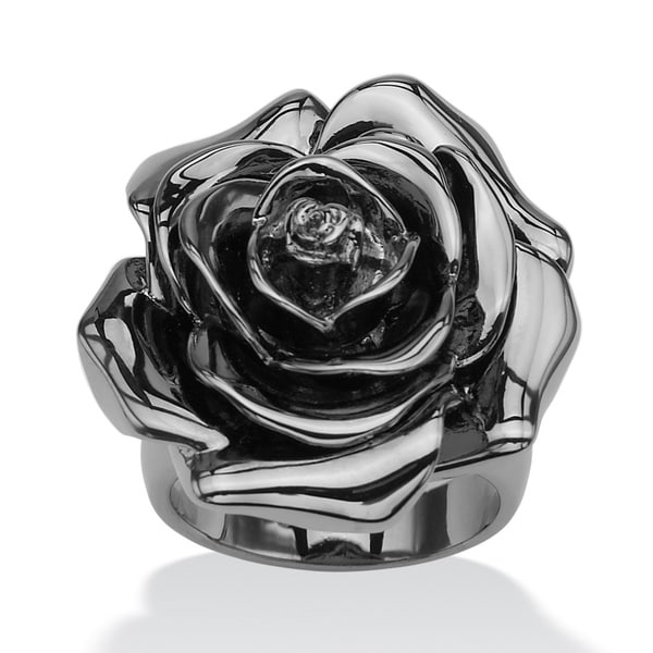 Black Rhodium-Plated Rose-Shaped Electroform Flower Ring Bold Fashion