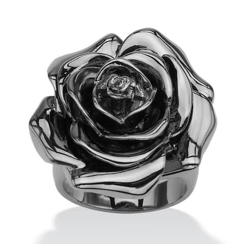 Black Rhodium-Plated Rose-Shaped Electroform Flower Ring Bold Fashion