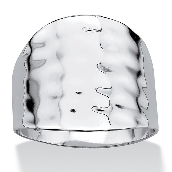 Platinum-Plated Hammered-Style Cigar Band Ring Tailored