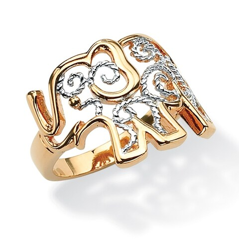 Yellow Gold-Plated Two Tone Elephant Filigree Ring
